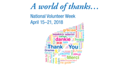 National Volunteer Week April 15-21 2018. A world of thanks. Sunnybrook.ca/volunteerweek