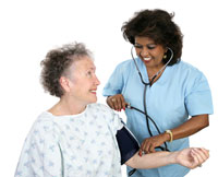 Elderly woman being checked by doctor