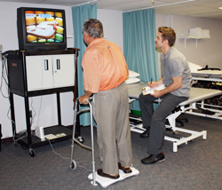 Sebastiano pictured playing Wii with Jack Fraser, Physiotherapist Assistant