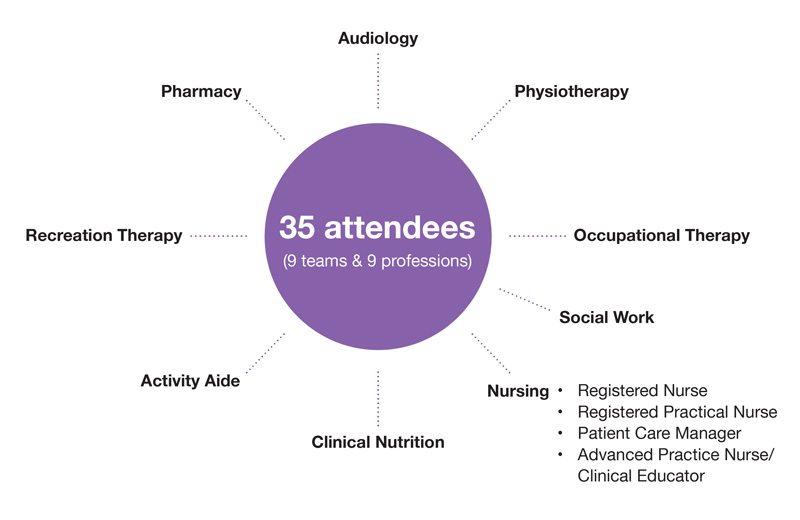 35 attendees, 9 teams, 9 professions, including: Audiology, Physiotherapy, Occupational Therapy, Nursing, Clinical Nutrition, Activity Aide, Recreation Therapy, and Pharmacy