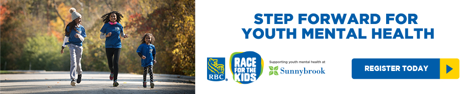 Family running for the RBC Race For The Kids. Text on the side that says step forward for youth mental health.