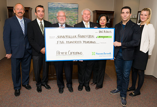 Peter Cipriano donating to Sunnybrook