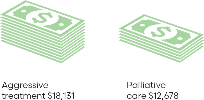 Aggressive treatment: $18131, Palliative care: $12678