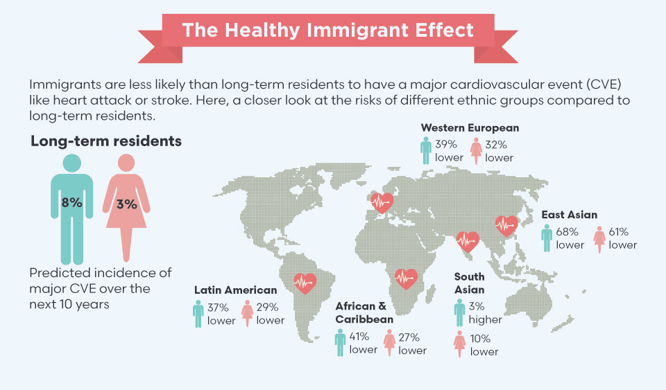 The Healthy Immigrant Effect, illustration - Immigrants are less likely than long-term residents to have a major cardiovascular event (CVE) like heart attack or stroke. Here, a closer look at the risks of different ethnic groups compared to long-term residents.