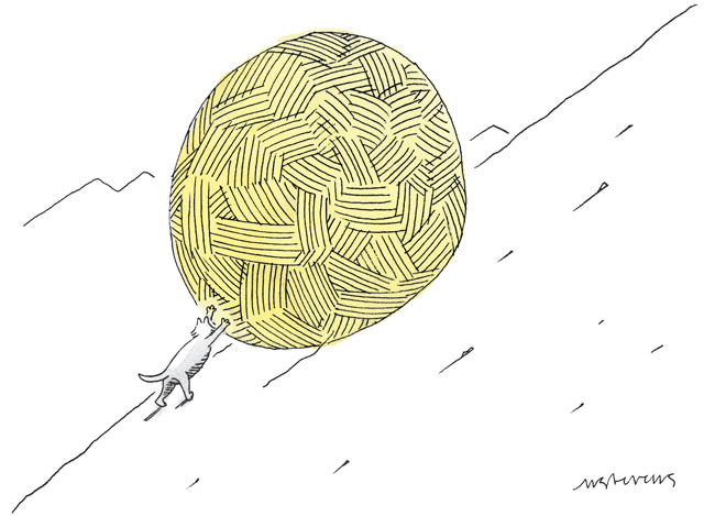 Comic, mouse pushing a ball of yarn up a hill