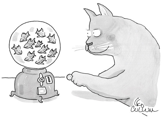 Illustration of cat looking at a jar of fish
