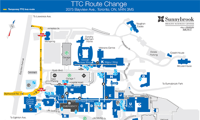 temporary rerouting of ttc vehicles on bayview campus. Black Bedroom Furniture Sets. Home Design Ideas
