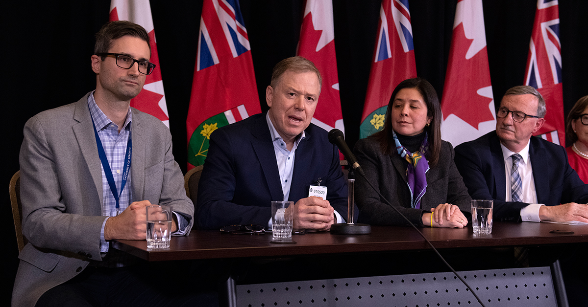 Sunnybrook leaders Jerome Leis and Dr. Andy Smith speak at a press conference with local and provincial health officials