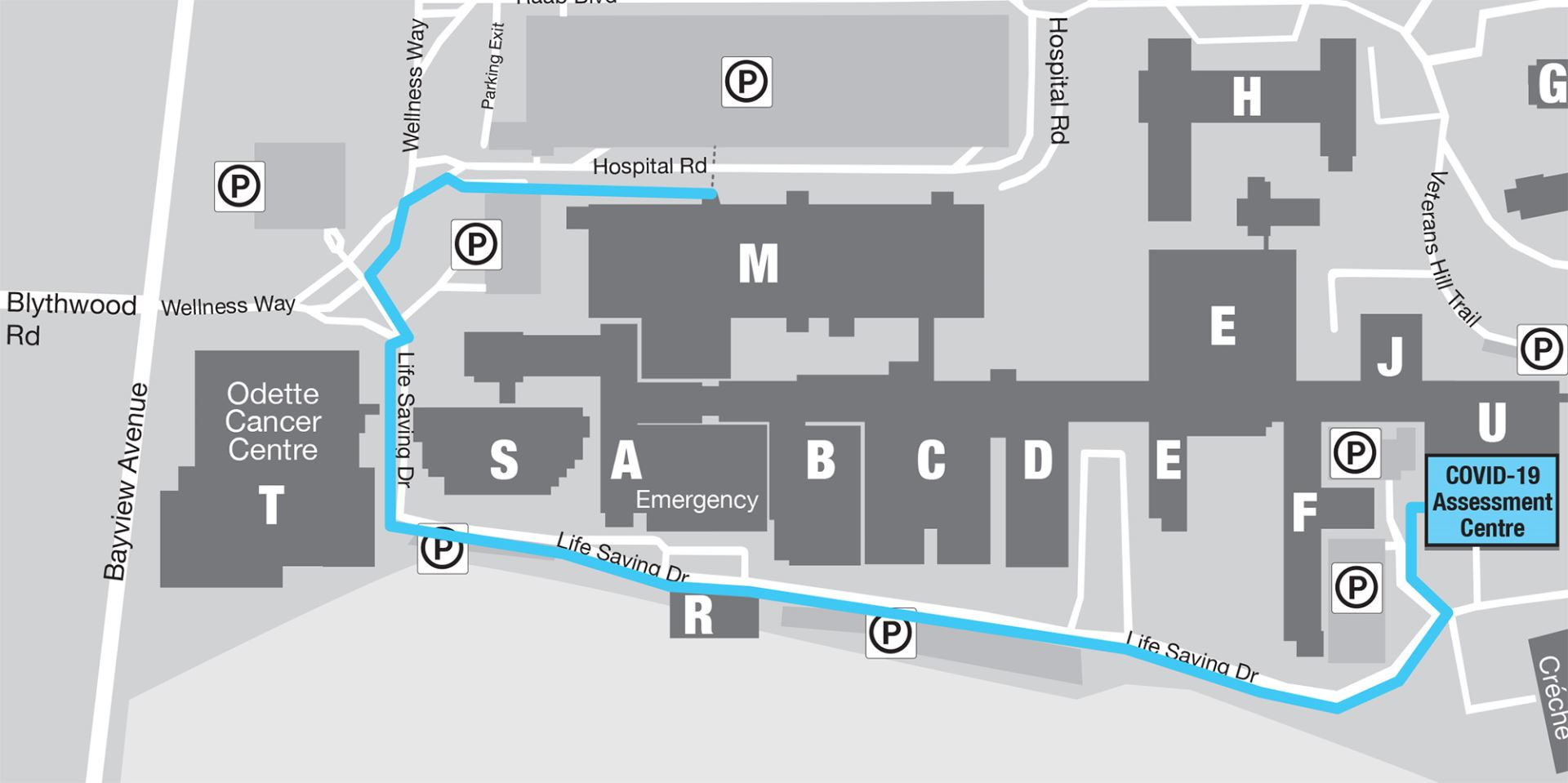Map of COVID-19 assessment centre
