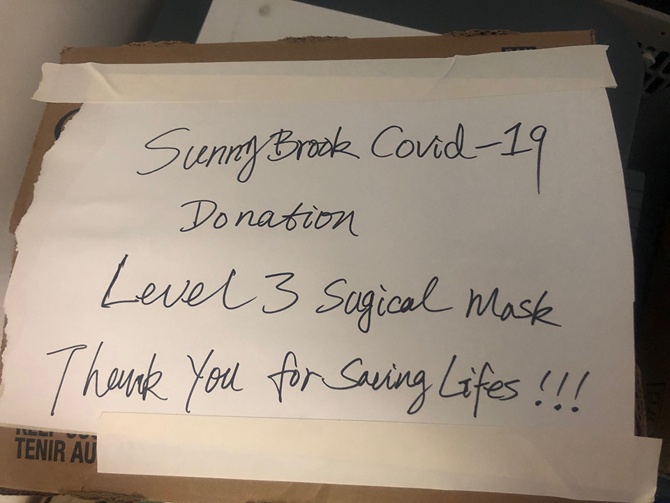 Sunnybrook COVID-19 donation of level 3 surgical masks.