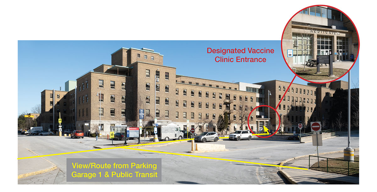 Image showing route from Parking Garage 1 and Public Transit to Vaccine Clinic Entrance