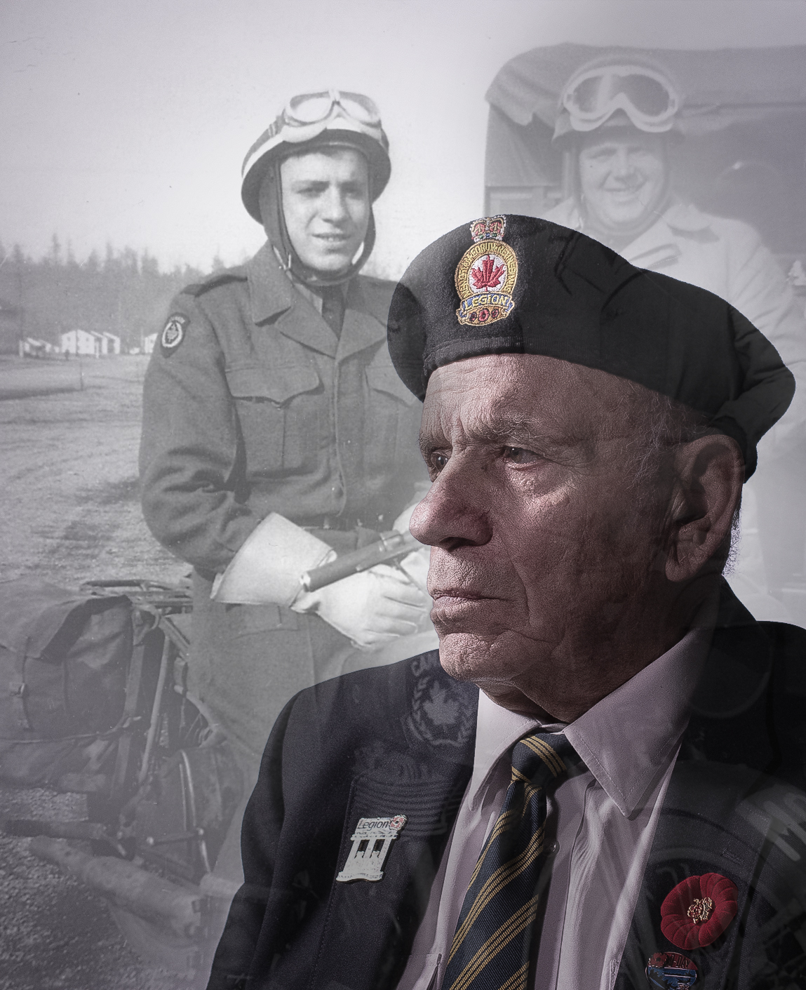 William (Bill) Mogavero, pictured now and and back when he was in the war