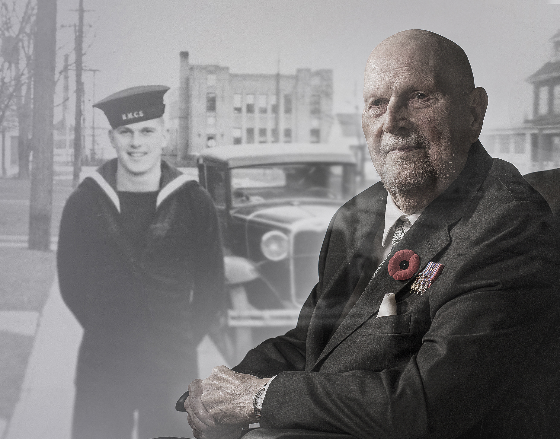 Donald Gorman, pictured now and and back when he was in the war