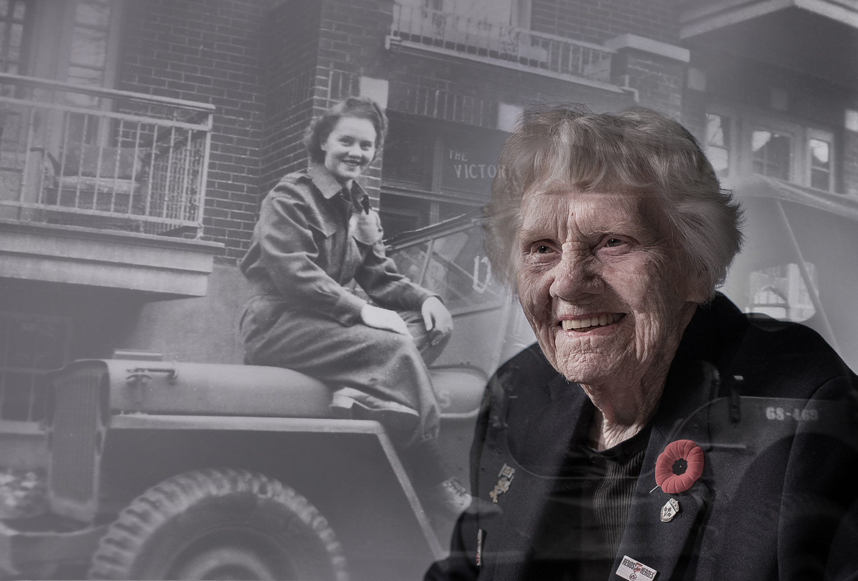 Mary Jarvis, pictured now and and back when she was in the war