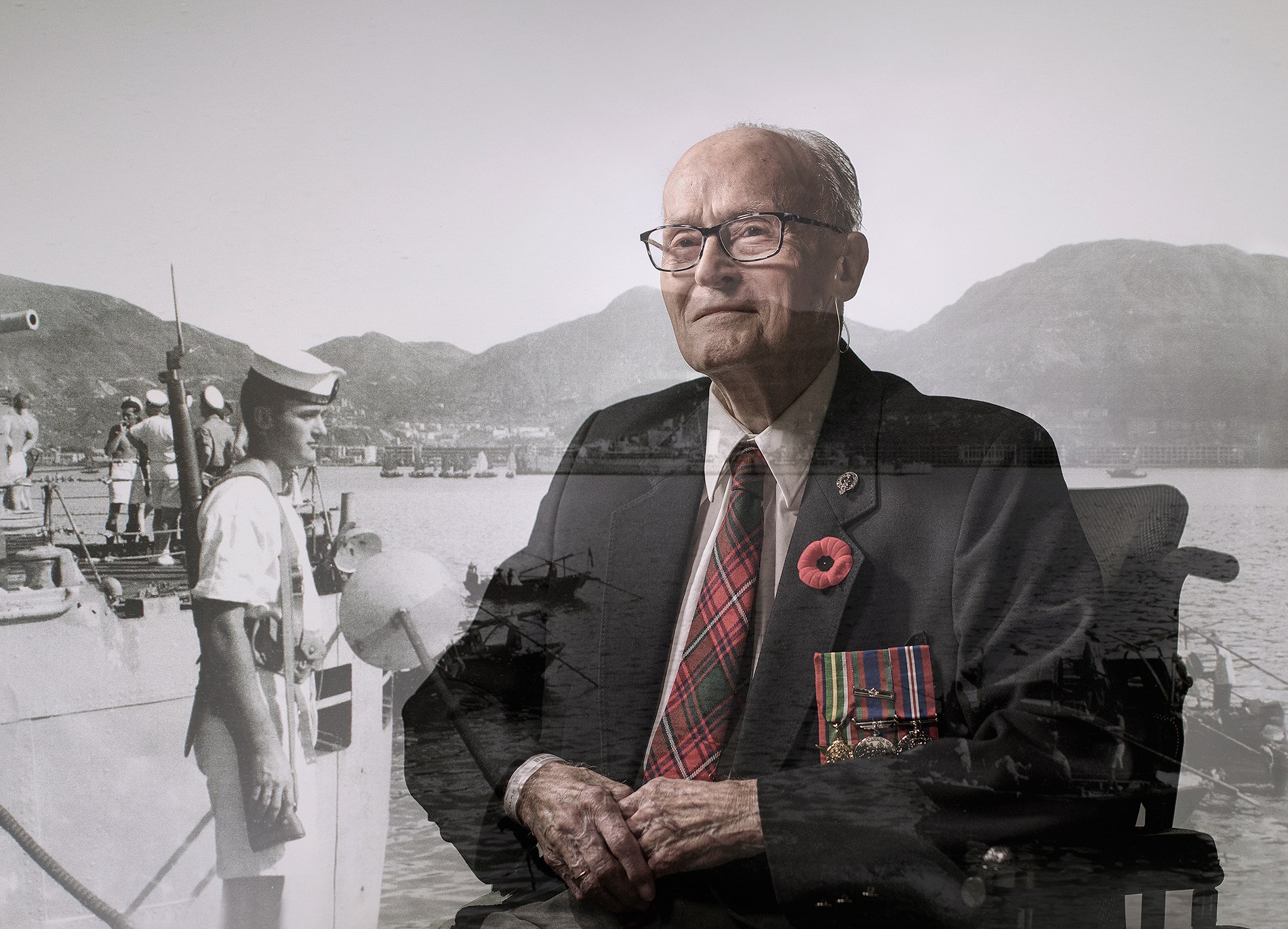 Norman Alan Rattray, pictured now and and back when he was in the war