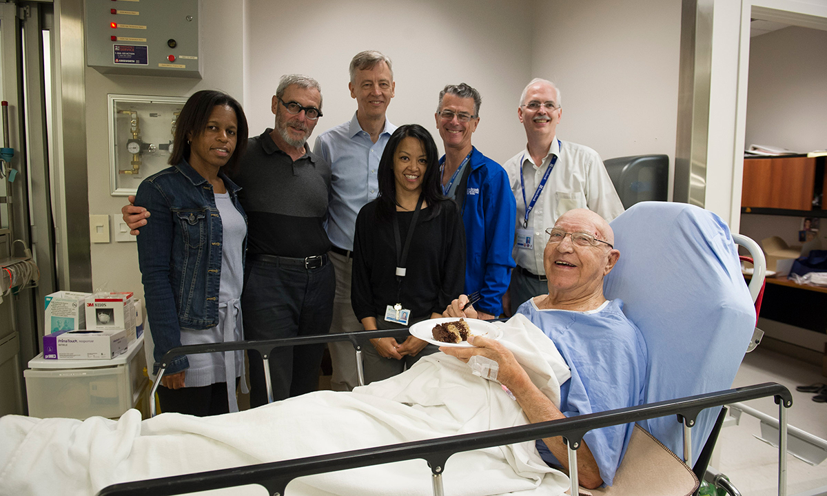 100th patient to be treated with focused ultrasound for essential tremor with care team.