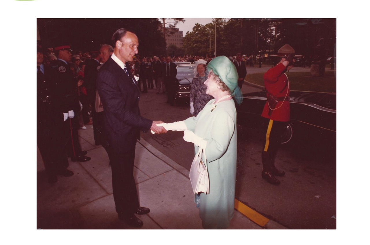 Elizabeth Royal (Queen Mother), greeted by Norman Bell