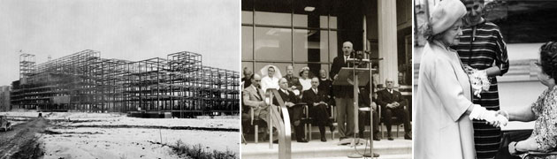 Collage of historical images from Sunnybrook, including its construction, the opening address by Prime Minister Mackenzie King, and the Queen Mum greeting a patient