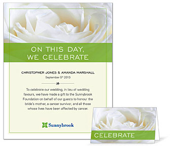 Wedding Gift Contribution Message : Sunnybrook Foundation offers a wedding recognition program that allows ...