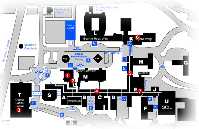 map of Sunnybrook campus and food services locations