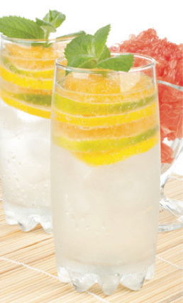 A tall glass of sparkling water with ice cubes and slices of lime and lemon, which fit perfectly into the glass. Looks refreshing, and somewhat Martha Stewart. A sprig of mint sits on top, and there's a piece of grapefruit in the background.