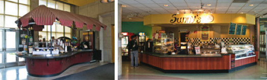An image of the Tim Horton's Kiosk in H wing and of Sunny's Cafe, in L wing.
